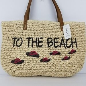Style co straw beach bag to the beach